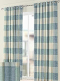 blue pattern eyelet curtains