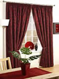 burgandy curtains with tie backs