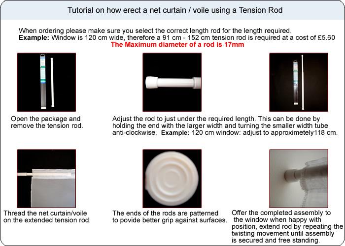 Net Accessories - Tension Rods,Net Curtain Wire,Window Track,Hooks ...